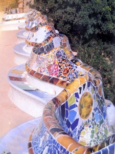 Mosaic bench where I sat, Park Güell, Barcelona, Spain