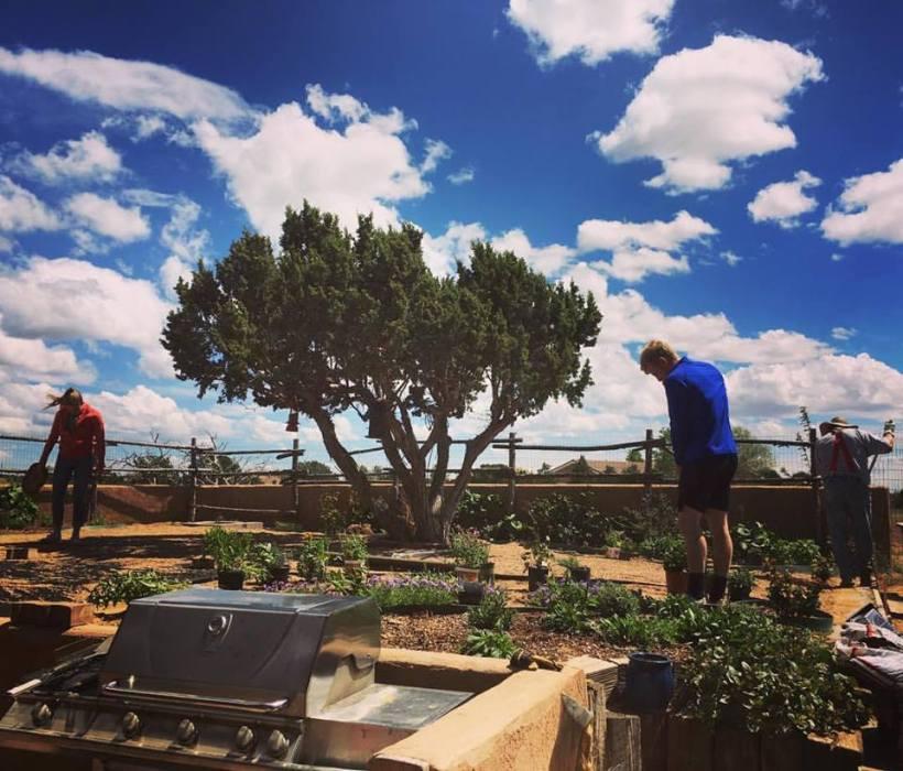 Wynn Luke working on the yard
